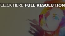 visage silhouette multicolore peinture