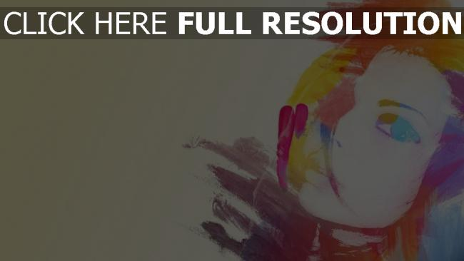 fond d'écran hd visage silhouette multicolore peinture