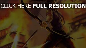 lara croft battu tirer arc feu