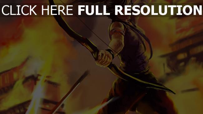 fond d'écran hd lara croft battu tirer arc feu