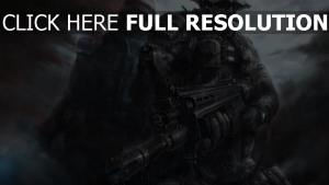 call of duty fusil d'assaut gros plan soldat averse