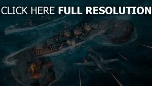 world of warships combat navire de ligne fighter