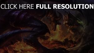 combat dragon feu épée