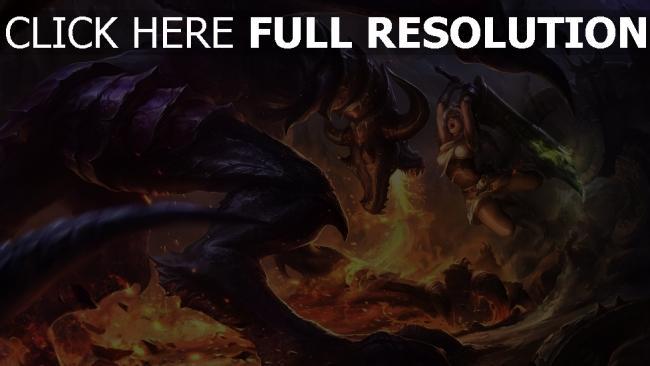 fond d'écran hd combat dragon feu épée