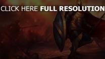 guerrier lance champ de bataille arrière-plan flou