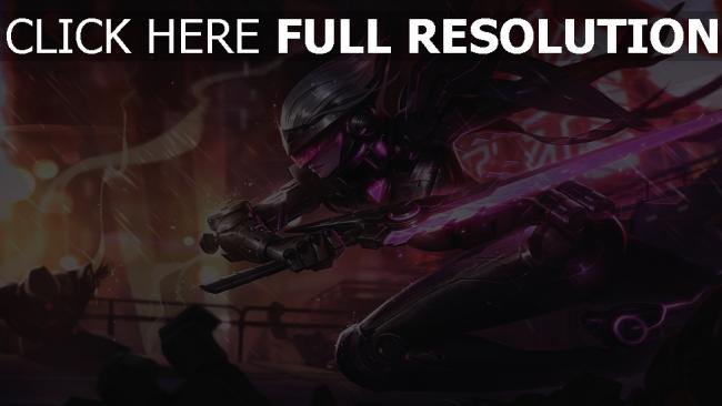 fond d'écran hd project fiora épée néon league of legends