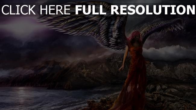 fond d'écran hd ange robe rouge rivage nuageux