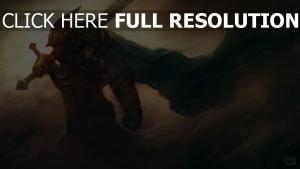 guerrier manteau tempête de sable épée à deux mains