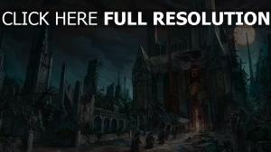 château ruines lune nuageux