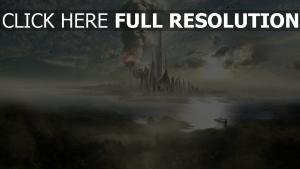 gratte-ciel feu futuriste île