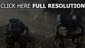 robot gratte-ciel fumée rayon