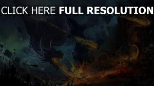 dragon bataille décombres feu