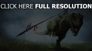 cavalière dinosaure lance bouche