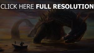 mer dragon soirée pêcheur chevalier