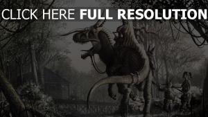 dinosaure cavalièr armure forêt