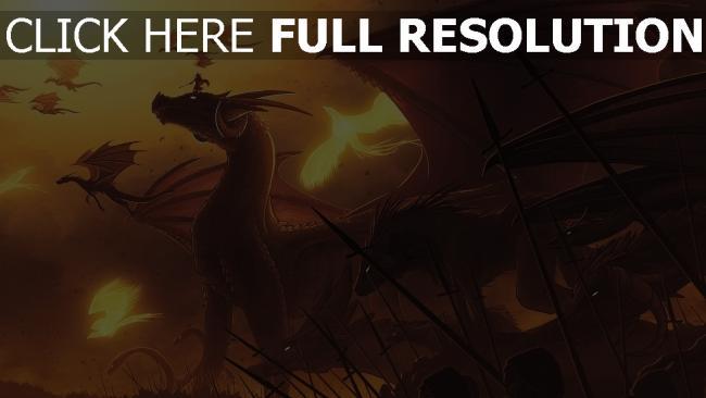 fond d'écran hd dragon bataille grand lance