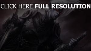 elfe noir armure visage dague