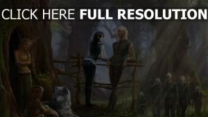 elfe village forêt loup