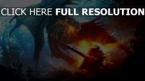 feu dragon guerrier combat