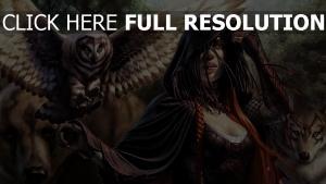 sorcière hibou roux capuchon
