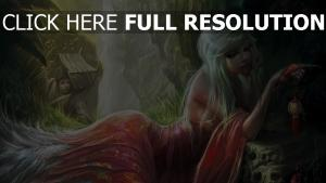 blond pensif robe forêt