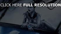 chromé robot câble yeux fermés
