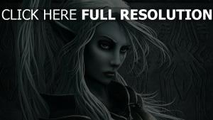 elfe noir regard blond