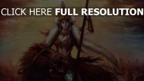 princesse nomade cavalière lance fourrure