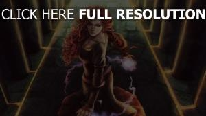 roux robe sort de magie triss merigold peinture