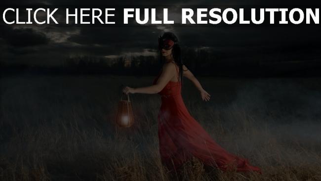 fond d'écran hd robe rouge masque lanterne champ