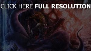 tentacules princesse monstre grotte