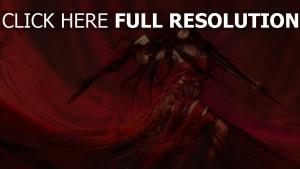 déchiré rouge robe cheveux longs