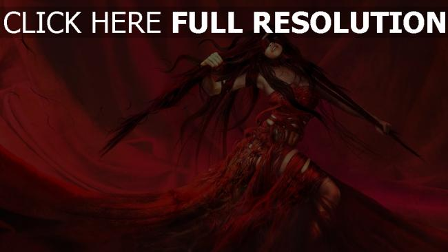 fond d'écran hd déchiré rouge robe cheveux longs
