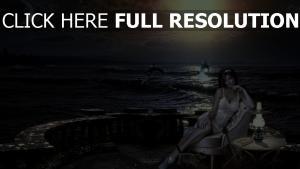 pensif robe nuit mer dauphin romantique