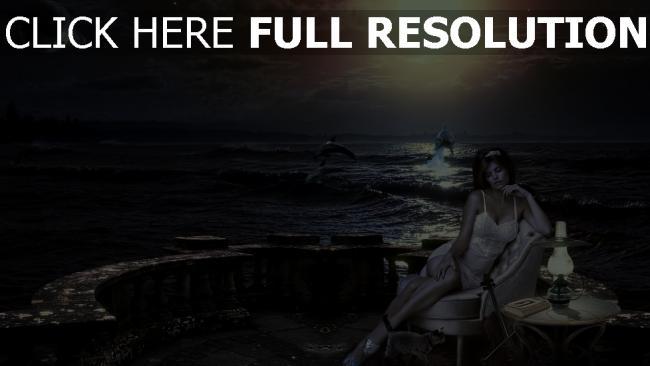 fond d'écran hd pensif robe nuit mer dauphin romantique