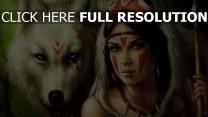 princesse mononoké visage lance loup