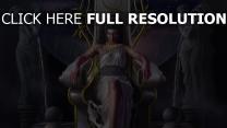héra déesse trône averse vue de face