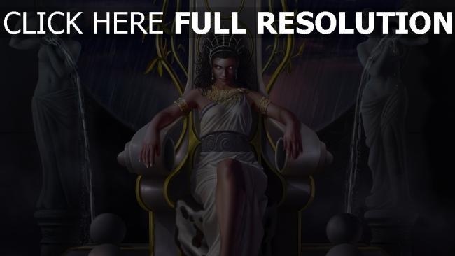 fond d'écran hd héra déesse trône averse vue de face