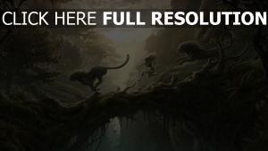 panthère forêt tropicale soirée