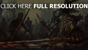 guerrier combat morts-vivants ruines