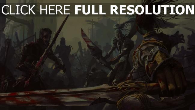 fond d'écran hd guerrier combat morts-vivants ruines