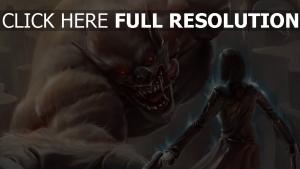 loup-garou museau attaque guerrier