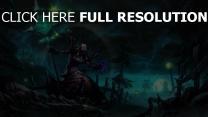 nécromancien sceptre sort de magie nuit sinistre