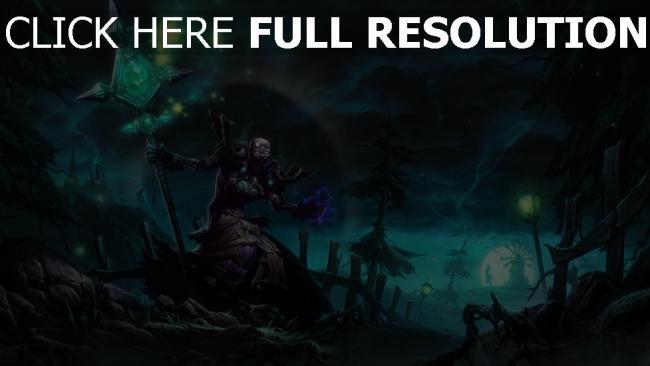 fond d'écran hd nécromancien sceptre sort de magie nuit sinistre