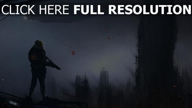 fond d'écran hd guerrier futuriste mégalopole ruines foncé