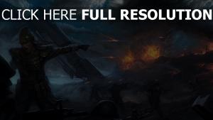 bataille feu ruines attaque geste