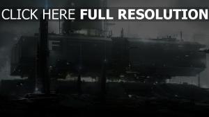 station illuminée grand futuriste