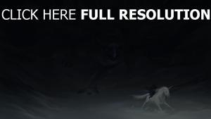 prédateur oiseau poursuite licorne