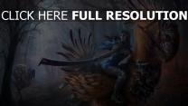 oiseau cavalière manteau épée