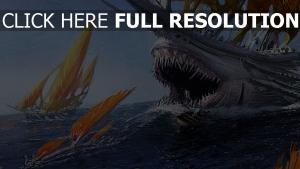 navire voile prédateur bouche